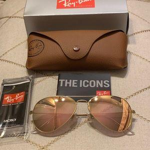 Rose gold ray ban aviator sunglasses size 58